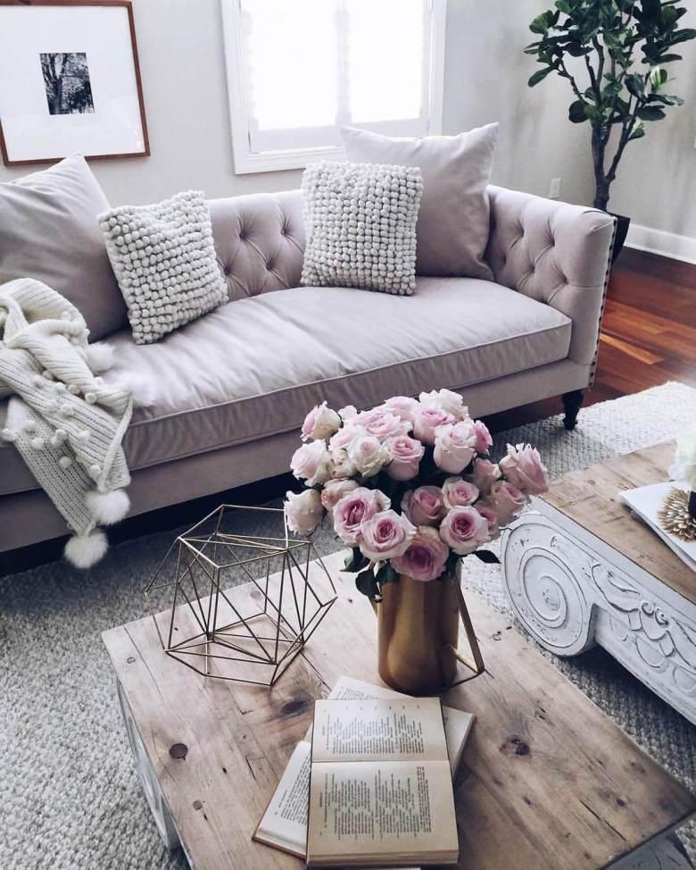feminine pink living room