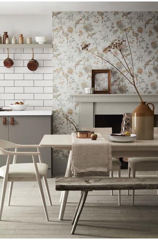 a calm and sophisticated kitchen diner with neutral colours