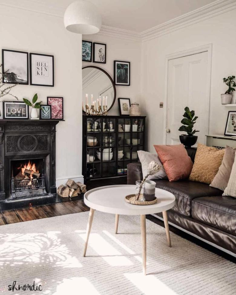 Reclaimed cast iron fireplace in Scandi style living room