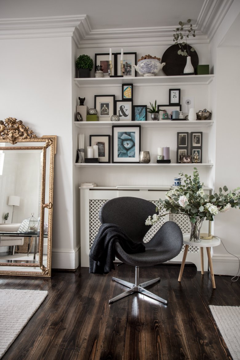 large gilded mirror in a modern interior