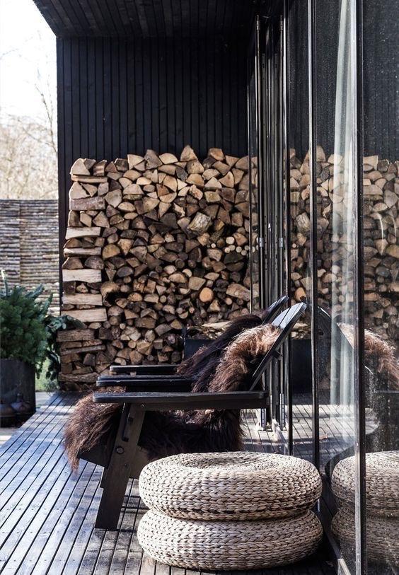 reno ideas: patio with log storage