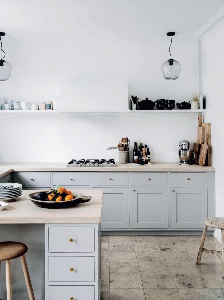 beautiful glass pendants in a kitchen