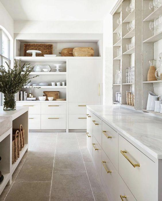 luxurious white and brass kitchen
