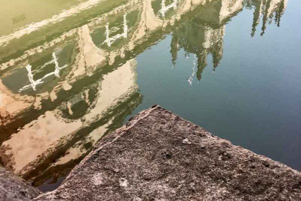 Reflections of Roman baths in City of Bath