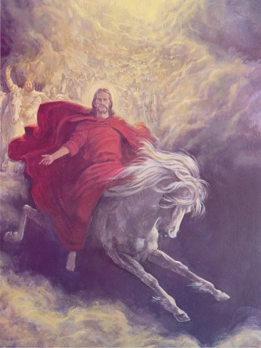 Christ in red robes sitting upon a white horse