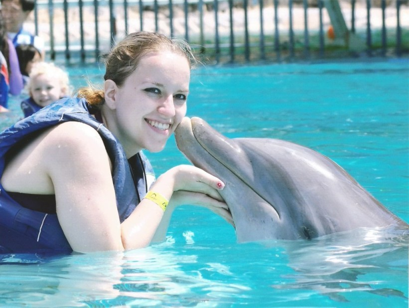 DolphinMaui gives me a kiss at Oahu's Sea Life Park.