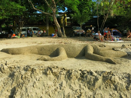 Sand art on Playa Tamarindo