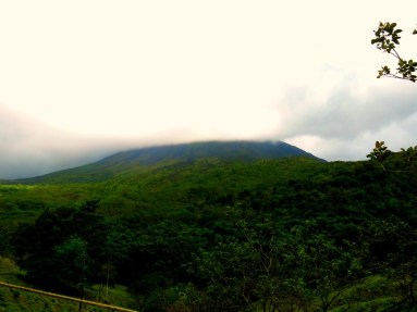 Arenal Volcano shrouded in clouds