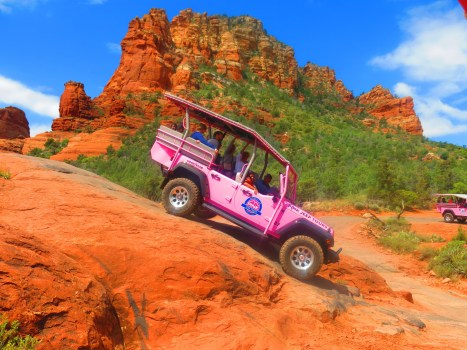 Soaking up the scenery on the Pink Jeep Tour.