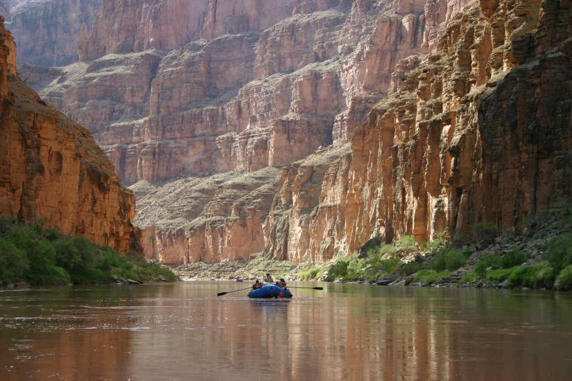 Boating down the Colorado River below Havasu Creek in Grand Canyon National Park. NPS photo by Mark Lellouch.