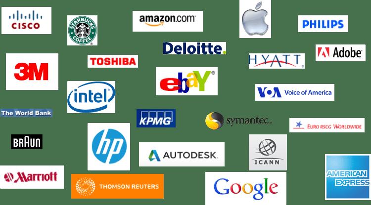 Our clients include Caterpillar, Yahoo!, Google, Adobe, Apple, Amazon, John Deere, Panasonic, American Express, KPMG, eBay, 3M, Hyatt, Carnival, and Deloitte.