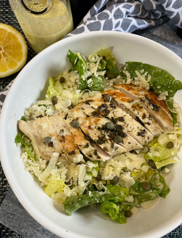 Chicken Caesar Salad with Capers