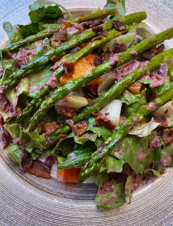 Roasted Asparagus Salad with Blueberry Balsamic Vinaigrette