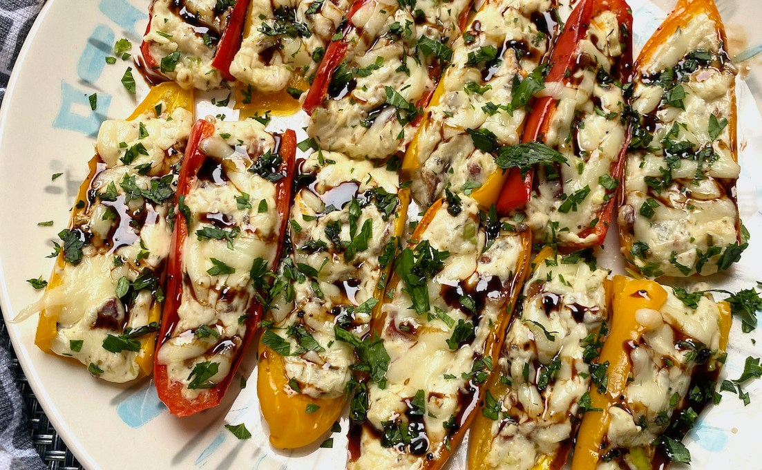 Cheesy Bacon Stuffed Mini Peppers with Balsamic Glaze