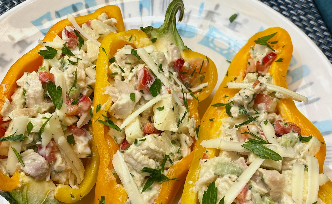 Fall Chicken Salad Stuffed Italian Pepper Boats