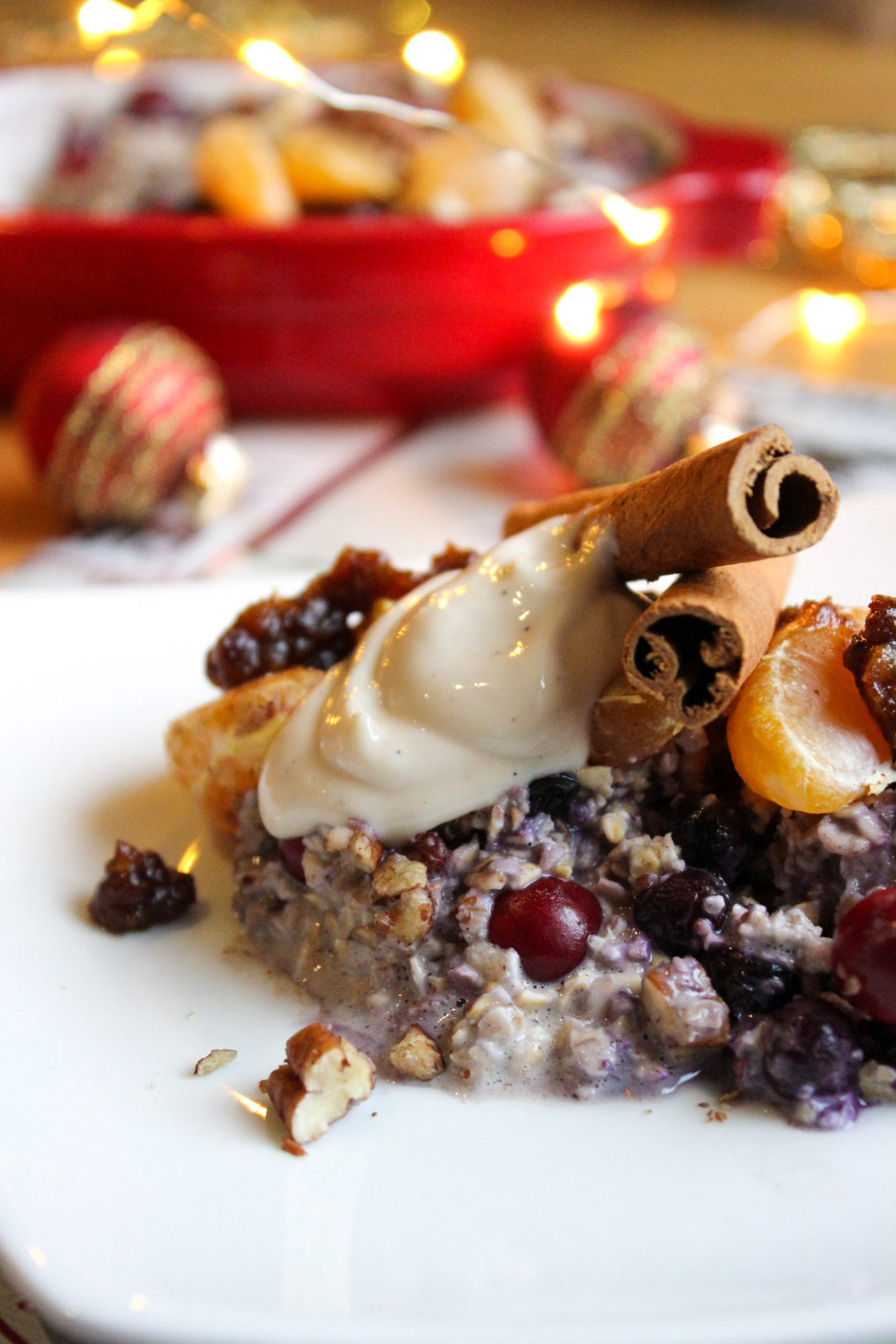 Christmas morning baked oatmeal – Berries and pecans and salted caramel… oh my!