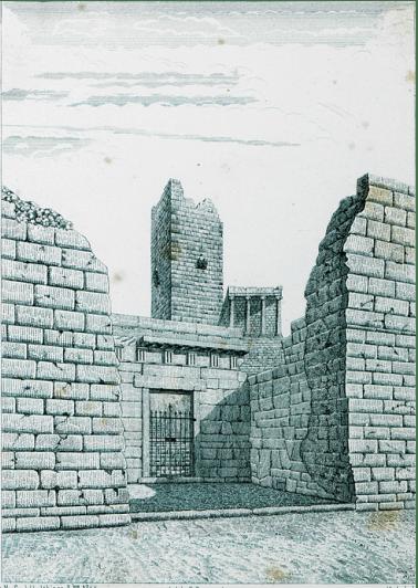 1835 μ.Χ. Πύλη Μπελέ Ακροπόλεως με τον πύργο Σερπεντζέ να δεσπόζει από πίσω.