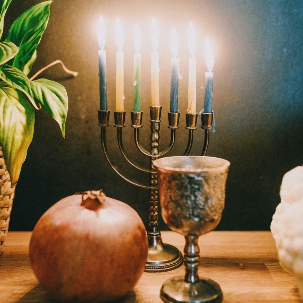 Menorah lit for Hanukkah  - byZipporah