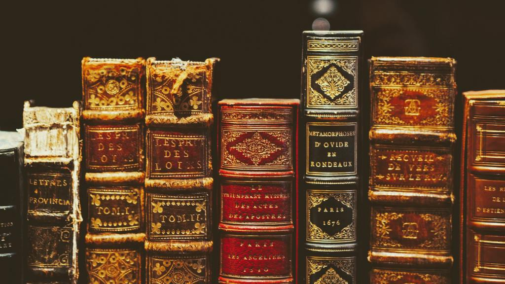 Close up on many old books