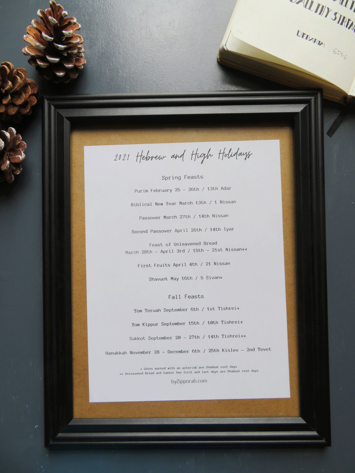 2021 Hebrew and High Holidays Printable in a picture frame.