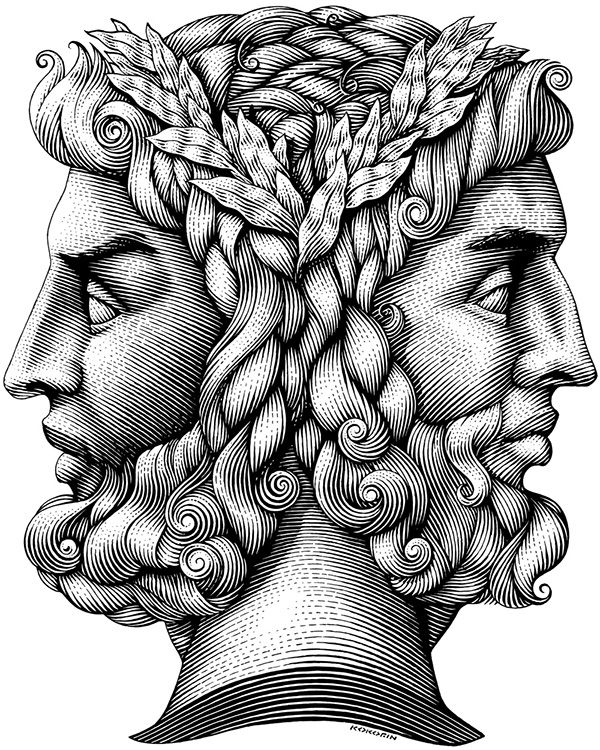 January named after the Roman god Janus. Symbol of the Gregorian New Year.