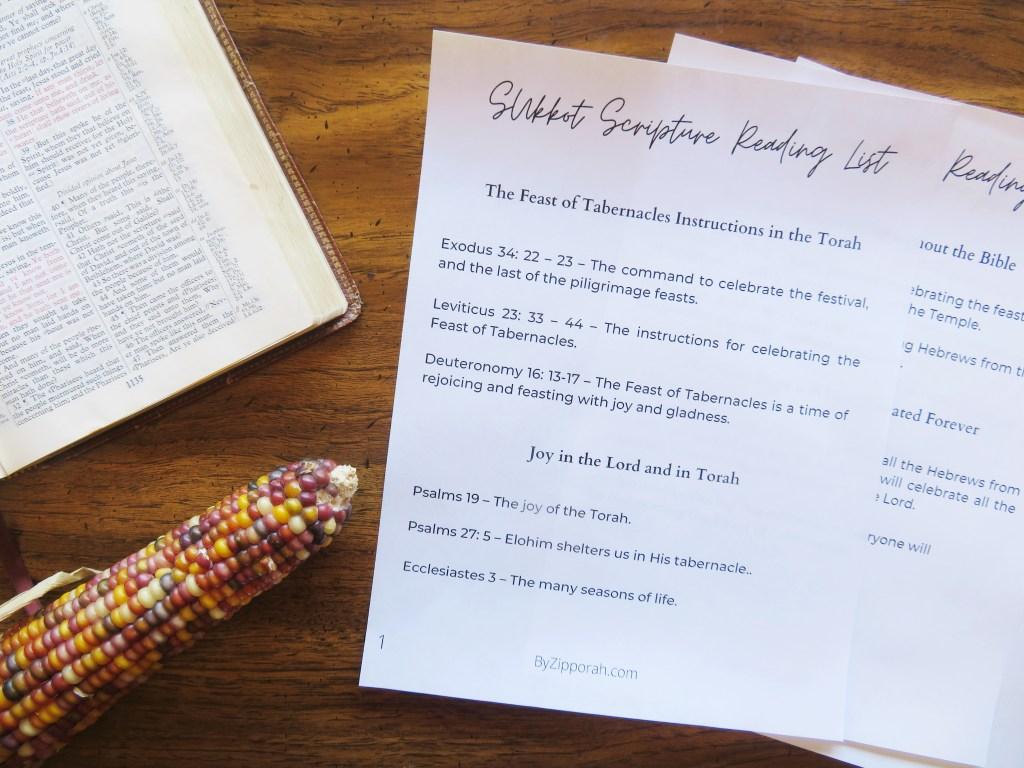 sukkot scriptures printable