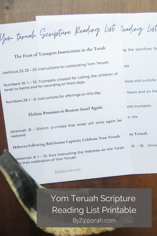 Yom Teruah Scriptures Reading List Printable
