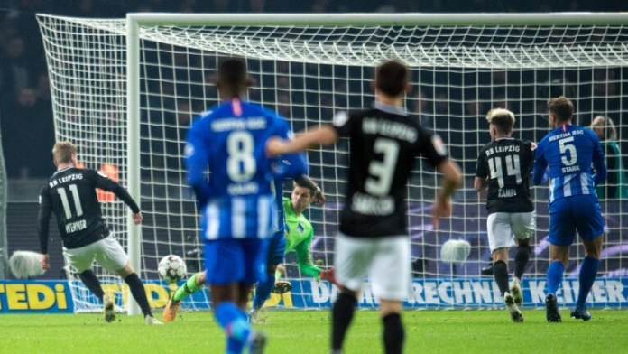 November 2018: National player Timo Werner scores 2-0 for Leipzig.  In the end, Hertha lost 0: 3 (Photo: picture alliance / dpa)