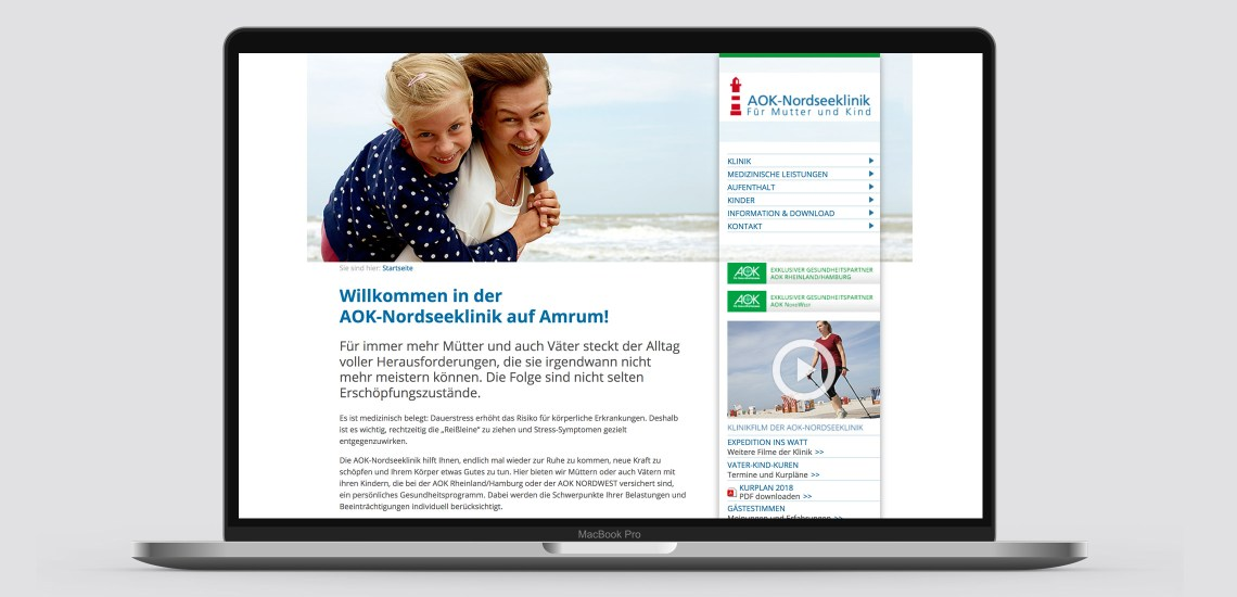 AOK Nordseeklinik, Website