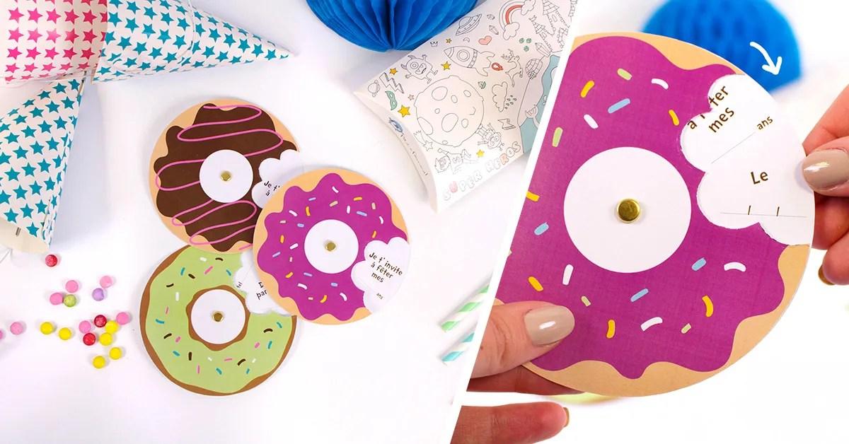 carte d anniversaire en forme de donuts