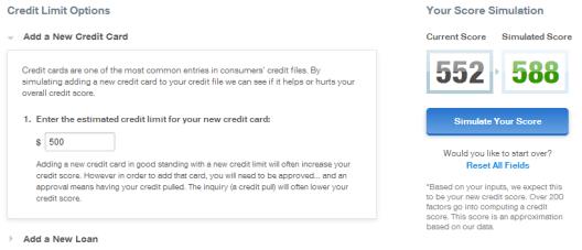 Add a new credit card credit score simulation