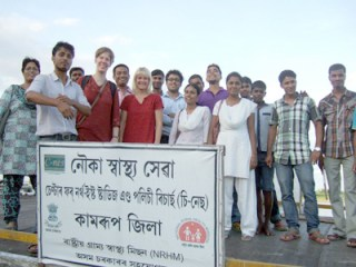 Anna (left in red) and Christina with the Kamrup health team