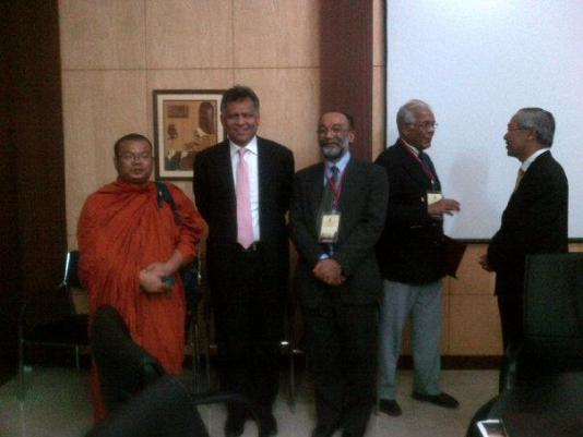 Dr. Surin Pitsuwan, former Secretary General of ASEAN and former Thailand foreign minister, with SanjoyHazarika  after an electrifying address on Building a New Asia at the NE Centre's international conf on The Eastern Himalaya, climate change, livelihoods and poverty at Jamia Millia Islamia.
