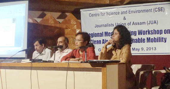 Communications Officer Bhaswati Goswami(extreme right) at the   New Delhi-based Centre for Science and Environment (CSE) organized  media workshop in Guwahati on Air Quality and Sustainable Transportation Challenge.Next to her is Editor,Shillong Times Patricia Mukhim