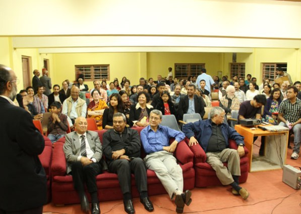 Sanjoy Hazarika (back to camera) interacting with the audience post screening at Shillong's State Central Library Hall