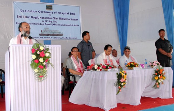 Sanjoy Hazarika addressing the dedication ceremony while (sitting, from left)) Dr. Bamin Tada Advisor (Health) North East Council,CM,Assam Mr Tarun Gogoi and Mr Jitesh Khosla, Additional Chief Secretary Govt of Assam listens