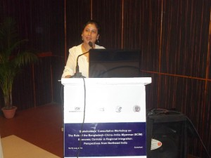 BhaswatiGoswami speaking on sustainable development at the BCIM workshop