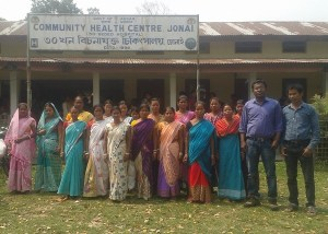 The beneficiaries of the family planning initiative seen in the photograph with the district programme officer Tapan Borah (right)