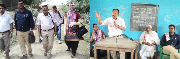 Left: The resource persons led by DPO Goalpara Begum Zareefa walking to the awareness camp. Right: The Goalpara District T.B. Officer, Dr. R. D. Kakoti giving an informative talk on Tuberculosis in the local Bhatia dialect.