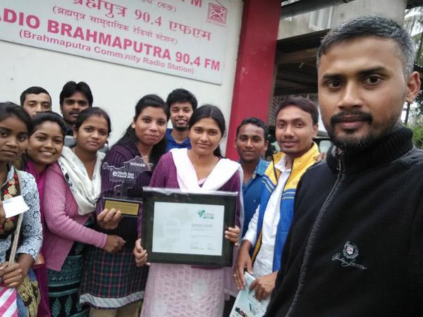 The Radio Brahmaputra team led by Coordinator Bhaskar Bhuyan (foreground) with the eNorth-East Award