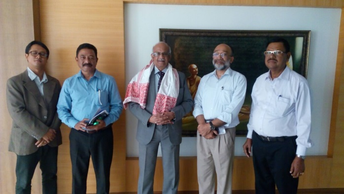 (From left) Dr M Toiganban, Assistant Professor, Centre for NE Studies Manipal University,C-NES Programme Manager Ashok Rao,VC Manipal University Dr H Vinod Bhat,Sanjoy Hazarika Managing Trustee and Dr CR Hira Technical Consultant,C-NES