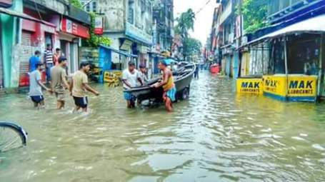 Dhubri town under flood water