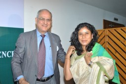 S.N. Batliwalla Chartered Accountant.Advisor, Finance and Taxation, TISS,Secretary and Chief Accountant, Tata Trusts (Retd) Head, Finance, Empanelment Committee, National CSR Hub, TISS, felicitating Bhaswati Goswami with a traditional TISS stole