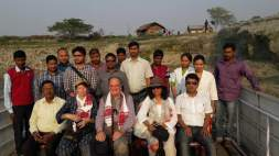 A group photograph of the visitors with the Kamrup Boat Clinic Unit
