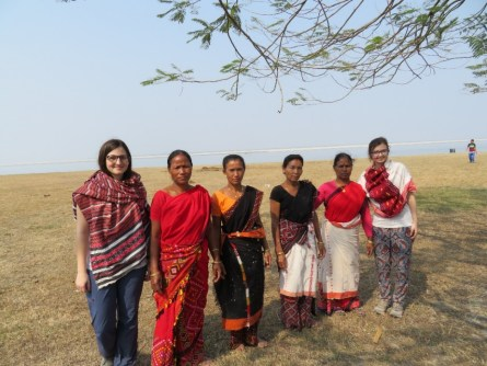 The visitors with Mishing women at the island village of Bhekeli in Jorhat district