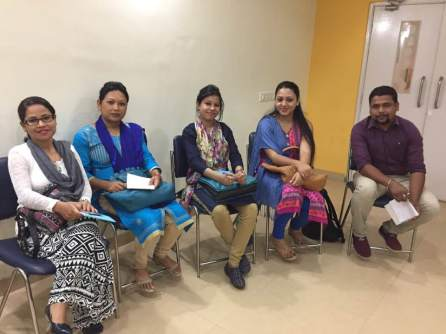 (From left )The DPOs of Boat Clinic Sonitpur,Mousumi Dowerah, Barpeta Unit II Swapna Das, Goalpara, Bandana Khound, Dhemaji, Kakoli Gogoi and Tinsukia Bhargab Baruah at the workshop