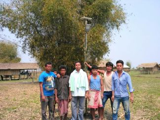 Solar lights installed at Kankurmukh and Gopalchuksapori of Majuli. Jorhat district by the Boat Clinic unit