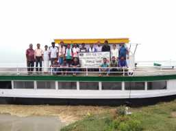 Finally S.B. Pallabi has been anchored at Lahorighat and the Morigaon team