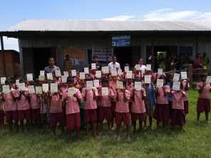 School children actively involved in the MR campaign at Baramara L.P. School, Tupkarchar.