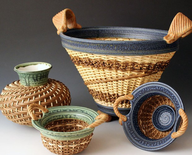 Stephen Kostystyn ceramic basket vessels